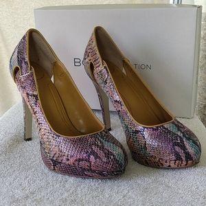 BCBG Leather Multi-coloured Snakeskin Heels